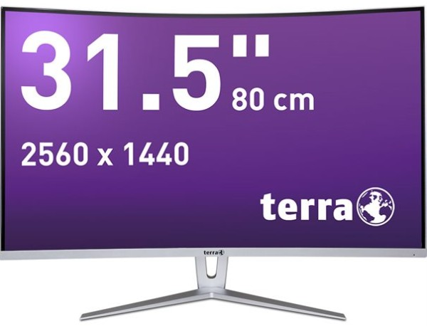 """TERRA LCD/LED 3280W, 31,5"""", silver/white CURVED DP/HDMI"""
