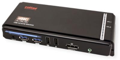 ROLINE DisplayPort USB 3.2 Gen 1 KVM Switch, 1 User - 2 PC