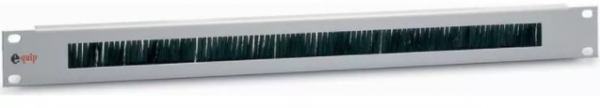 """equip 19"""" Kabeldurchführungs-Panel 1 HE, lichtgrau (RAL 7035), mit Bürsteneinsatz und rückseit"""
