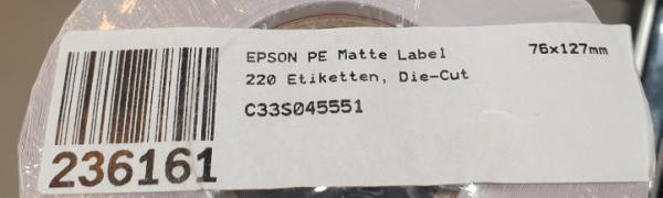 Epson Mehrzwecketikett - Permanent Adhesive - 76 mm Width x 127 mm Länge - Rechteck - C33S045551