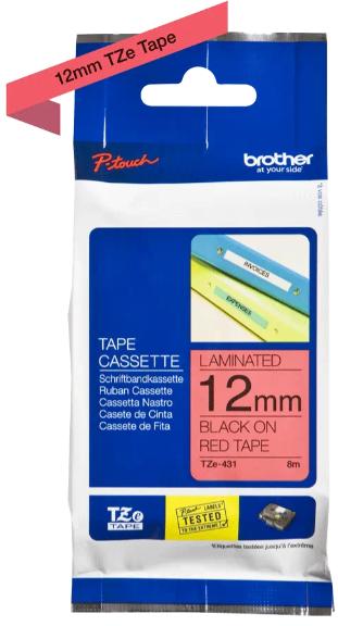 orig. Brother TZE-431 Schriftbandkassette, rot/schwarz