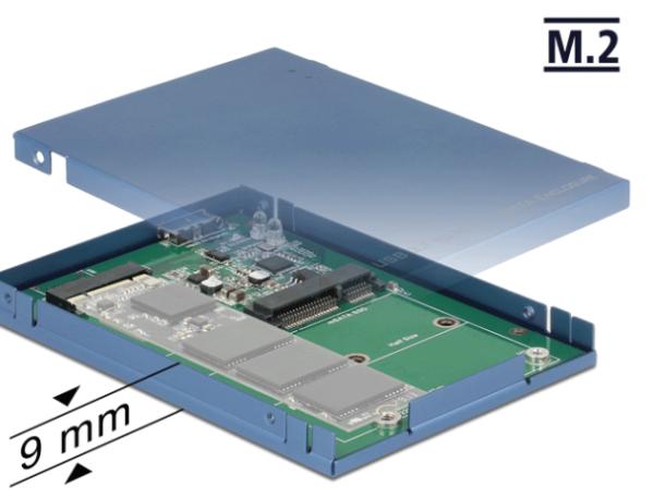 Delock 2.5″ Konverter USB 3.1 Micro-B Buchse > M.2 / mSATA mit Gehäuse 62731