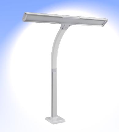 FeinTech LED Schreibtischlampe mit Klemmhalter LTL00320 Schwanenhals, weiss für 2 Monitore