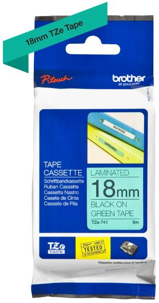 orig. Brother TZe741/TZe-741 Schriftbandkassette, 18mm schwarz/grün