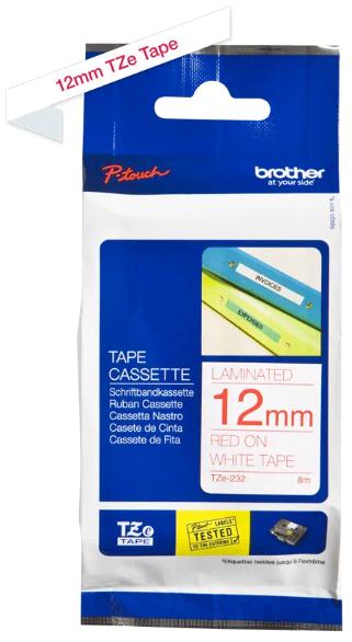 orig. Brother TZe232/TZe-232 Schriftbandkassette 12mm weiß/rot