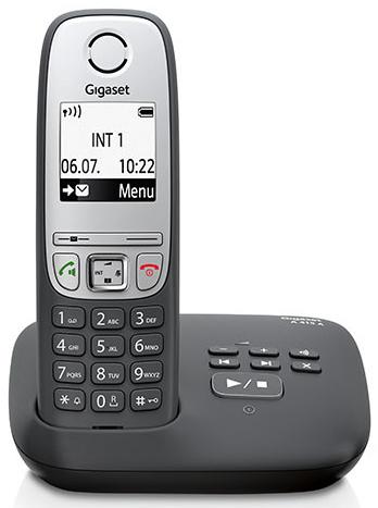 Gigaset A415A Schnurlostelefon DECT mit AB, LCD, schwarz