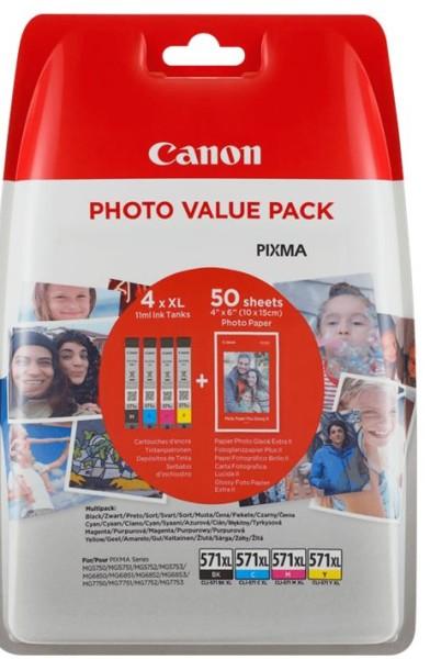 orig. Tintenpatrone Canon Photo Value XL CLI-571XL, inkl. 50 Blatt 10x15-Fotopapier