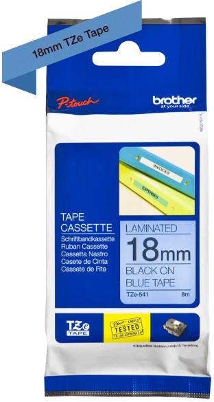 orig. Brother TZE-541 Schriftbandkassette, blau/schwarz