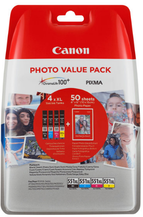 orig. Tintenpatrone Canon CLI-551XL BK/C/M/Y Multipack + Foto Papier