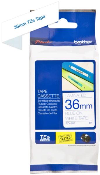 orig. Brother TZe263/TZe-263 Schriftbandkassette 36mm weiß/blau