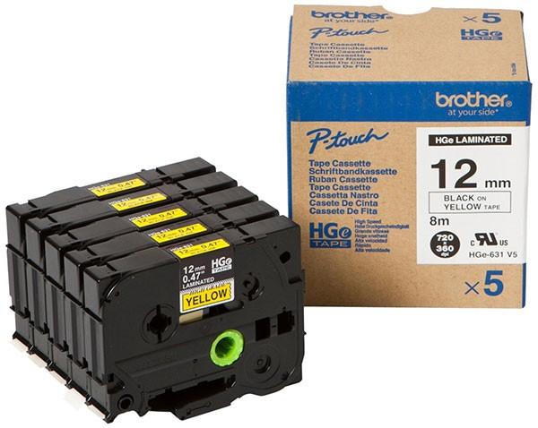 orig. Brother HGe631/HGe-631 Schriftbandkassette 12mm schwarz/gelb High Grade 5er Multi
