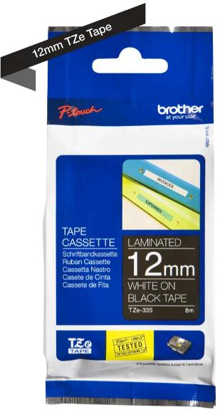 orig. Brother TZe335/TZe-335 Schriftbandkassette 12mm schwarz/weiß