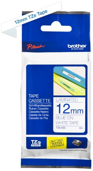 orig. Brother TZe233/TZe-233 Schriftbandkassette 12mm weiß/blau