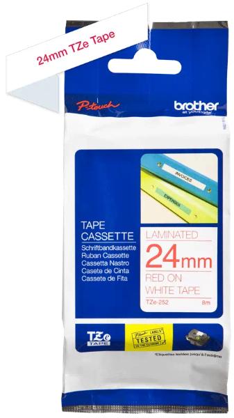 orig. Brother TZe252/TZe-252 Schriftbandkassette 24mm weiß/rot