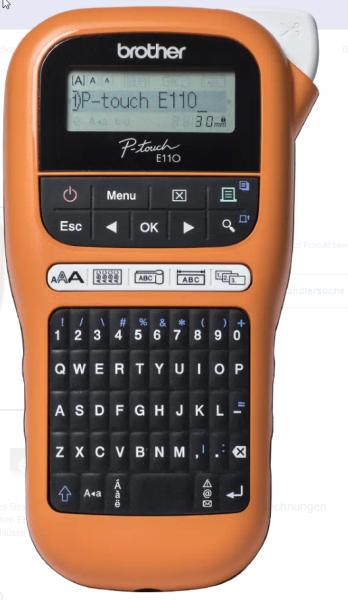 Brother P-Touch PT-E110 - Beschriftungsgerät - s/w - Thermotransfer inkl. Netzteil + Hartschalenkoff