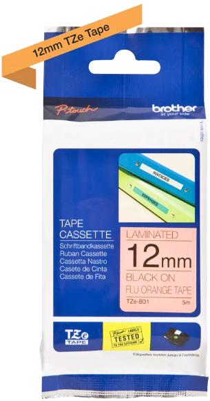 orig. Brother TZEB31/TZE-B31 Schriftbandkassette Signalorange/schwarz