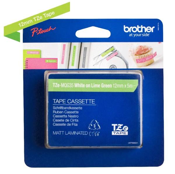 orig. Brother TZeMQG35/TZe-MQG35 Schriftbandkassette 12mm weiss/apfelgrün