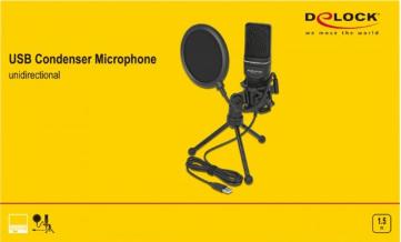 DELOCK USB Kondensator Mikrofon Set - für Podcasting, Gaming und Gesang schwarz