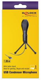 DELOCK USB Kondensator Mikrofon mit Tischständer - ideal für Gaming Skypen und Gesang schwarz