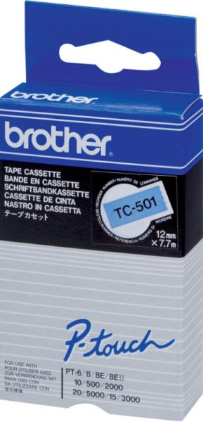 orig. Brother TC501/TC-501 Schriftbandkassette schwarz/blau, 12 mm