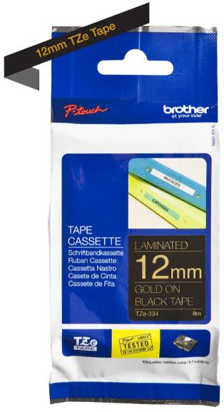orig. Brother TZe334/TZe-334 Schriftbandkassette 12mm schwarz/gold