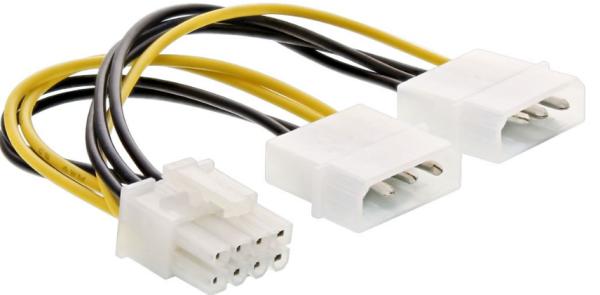 InLine Stromadapter intern 2x 4pol zu 8pol für PCIe (PCI-Express) Grafikkarten, 0,15m