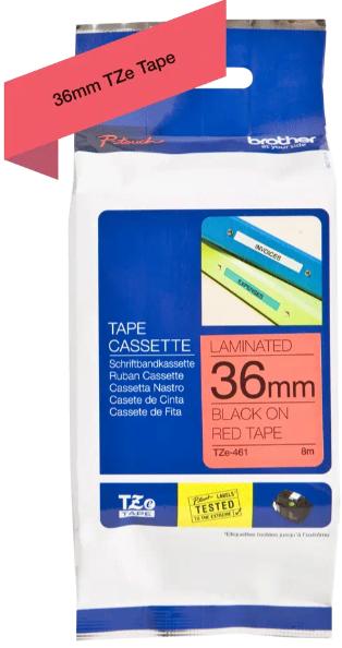 orig. Brother TZe461/TZe-461 Schriftbandkassette, 36mm schwarz/rot