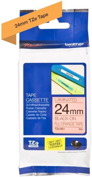 orig. Brother TZEB51/TZE-B51 Schriftbandkassette 24mm orange/schwarz