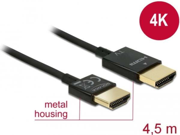 Delock Kabel High Speed HDMI mit Ethernet - HDMI-A Stecker > HDMI-A Stecker 3D 4K 4.5 m Slim