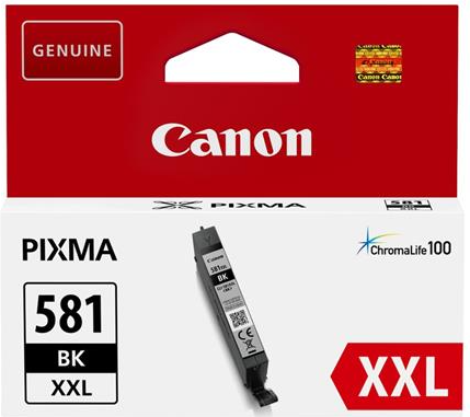 orig. Tintenpatrone Canon CLI-581XXLBK black/schwarz, 11,7ml für ca. 800 Seiten