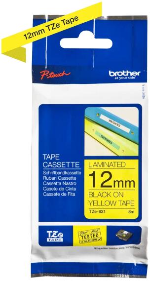 orig. Brother TZE-631 Schriftbandkassette gelb/schwarz