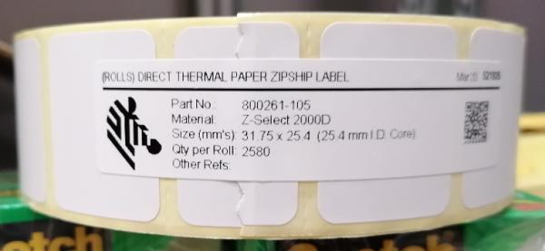 ZEBRA TECHNOLZEBRA TECHNOLOGIES Thermoetiketten Zebra Z-Select 2000D - Permanent Kleber - 31,75 mm B