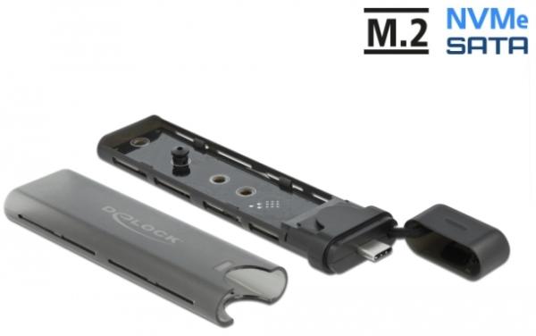 Delock Externes USB Typ-C Combo Gehäuse für M.2 NVMe PCIe oder SATA SSD 42635