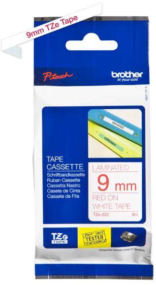 orig. Brother TZe222/TZe-222 Schriftbandkassette 9mm weiß/rot