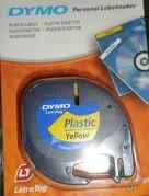 DYMO Letratag Plastik Etiketten 12mmx4m Yellow/Gelb