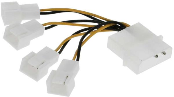 """InLine Lüfter Adapterkabel 4x Lüfter 3pol an 13.34cm (5,25"""")"""