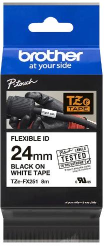 orig. Brother TZeFX251/TZe-FX251 Schriftbandkassette, 24 mm schwarz/weiß Flexi-Tape