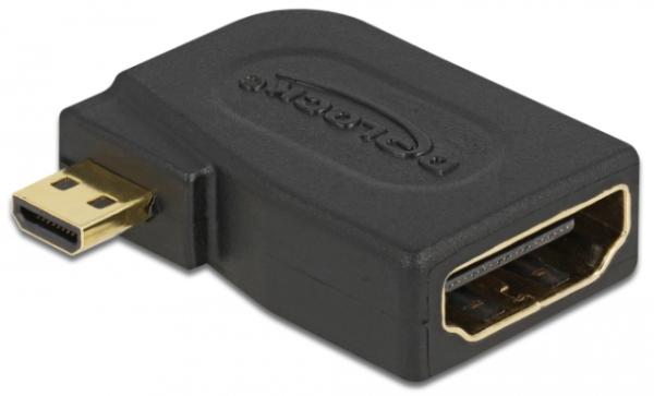 Delock Adapter High Speed HDMI with Ethernet - micro D Stecker > A Buchse seitlich gewinkelt