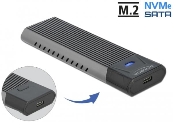 DeLOCK Externes USB Typ-C Combo Gehäuse für M.2 NVMe PCIe oder SATA SSD 42638