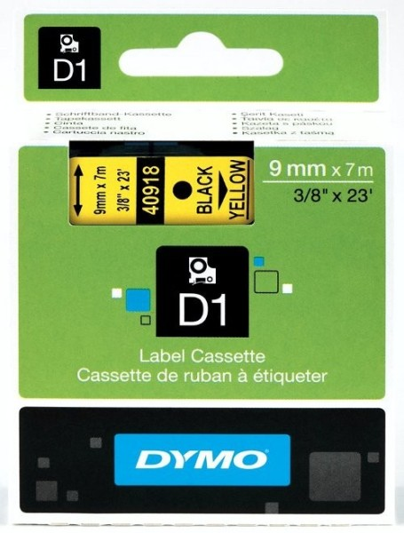 DYMO D1 Schriftbandkassette S0720530 , schwarz auf weiß, 12 mm / 7 m