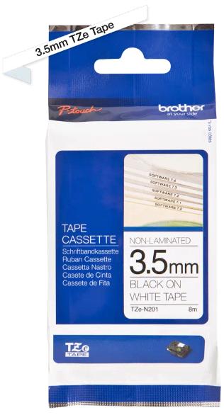 orig. Brother TZeN201/TZe-N201 Schriftbandkassette 3,5 mm weiß/schwarz nicht Laminiert