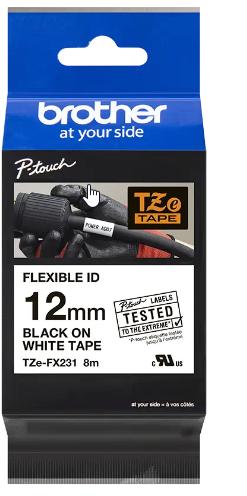 orig. Brother TZEFX231/TZE-FX231 Schriftbandkassette, weiss/schwarz 12mm schwarz/weiß