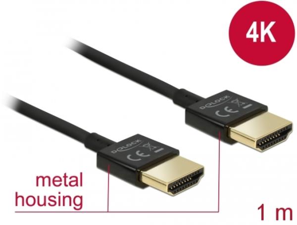Delock Kabel High Speed HDMI mit Ethernet - HDMI-A Stecker > HDMI-A Stecker 3D 4K 1 m Slim High Qual