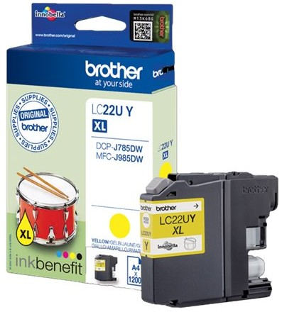 orig. Brother Tintenpatrone LC-22UY yellow/gelb, ca. 1200 Seiten
