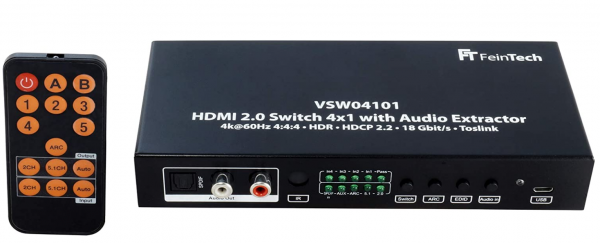 FeinTech HDMI 2.0 Switch 4x1 mit Audio Extraction VWS04101