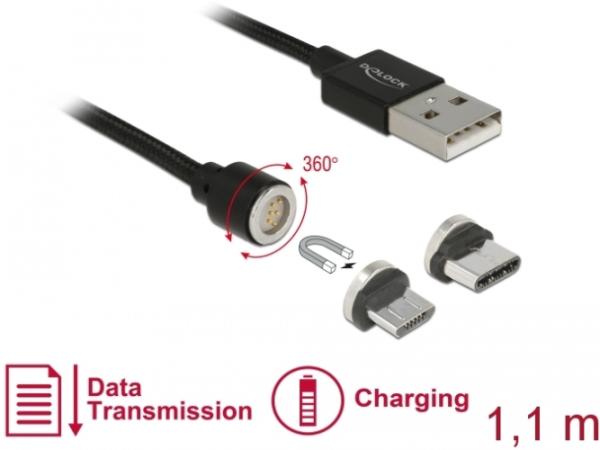 DELOCK Kabel Micro USB / USB Typ-C magentisch, 1,1m Schwarz 85723