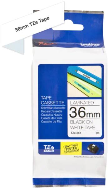 orig. Brother TZe261/TZe-261 Schriftbandkassette, 36mm weiß/schwarz