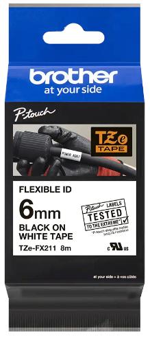 orig. Brother TZeFX211/TZe-FX211 Schriftbandkassette, 6 mm schwarz/weiß Flexi-Tape