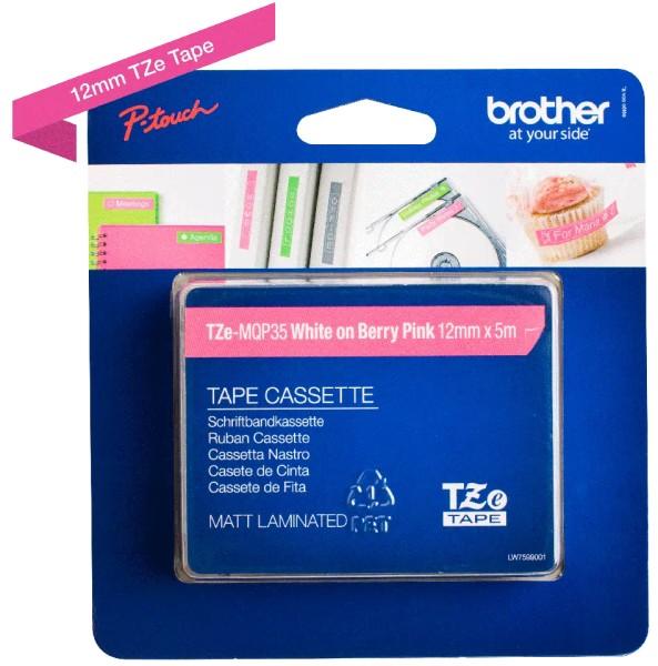 orig. Brother TZeMQP35/TZe-MQP35 Schriftbandkassette 12mm weiss/pink