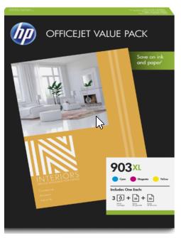 orig. Tintenpatrone HP 903XL CMY OfficeJet Value Pack 25Blatt A4 1CC20AE
